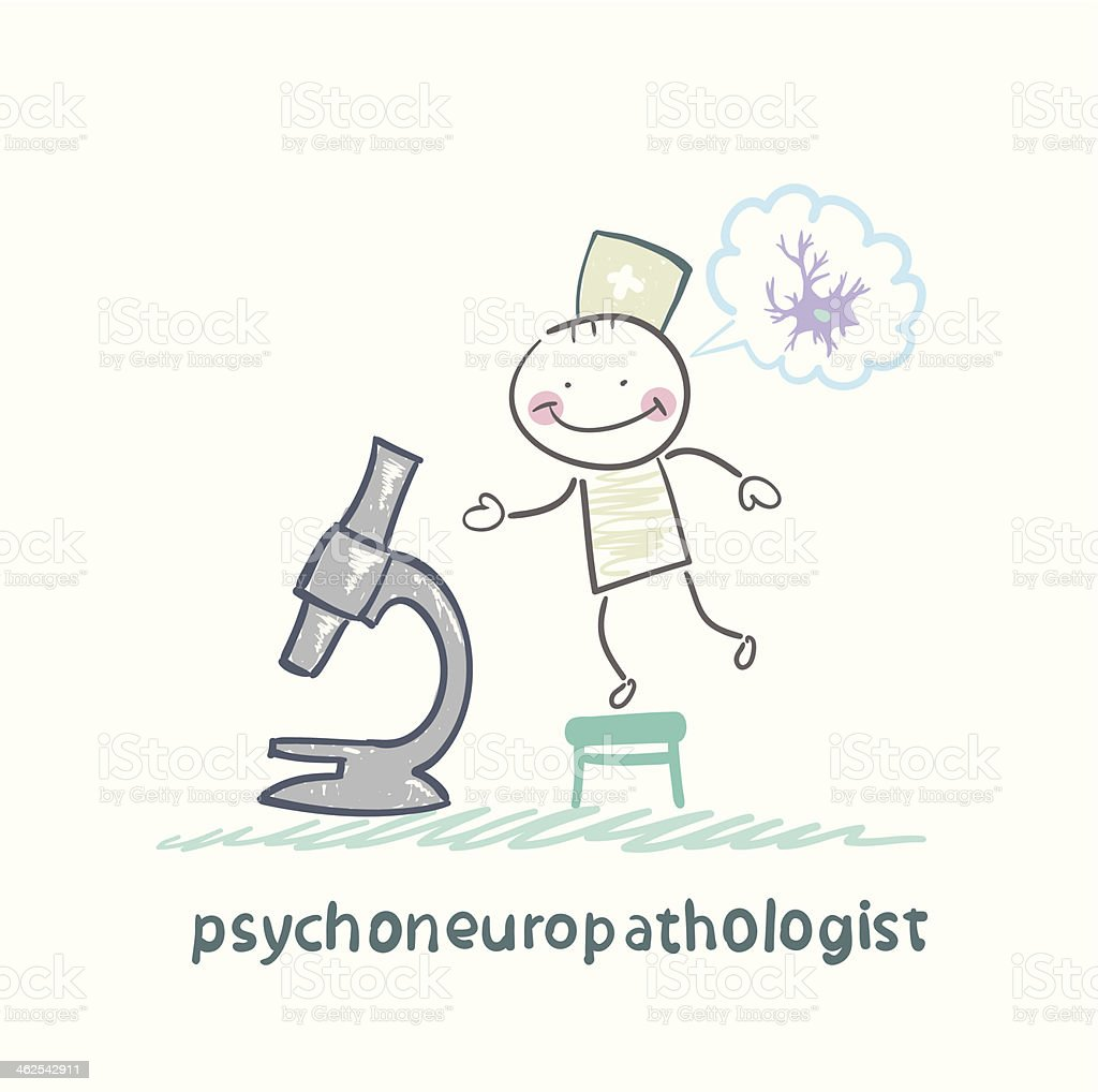 psychoneuropathologist  looking through a microscope royalty-free stock vector art