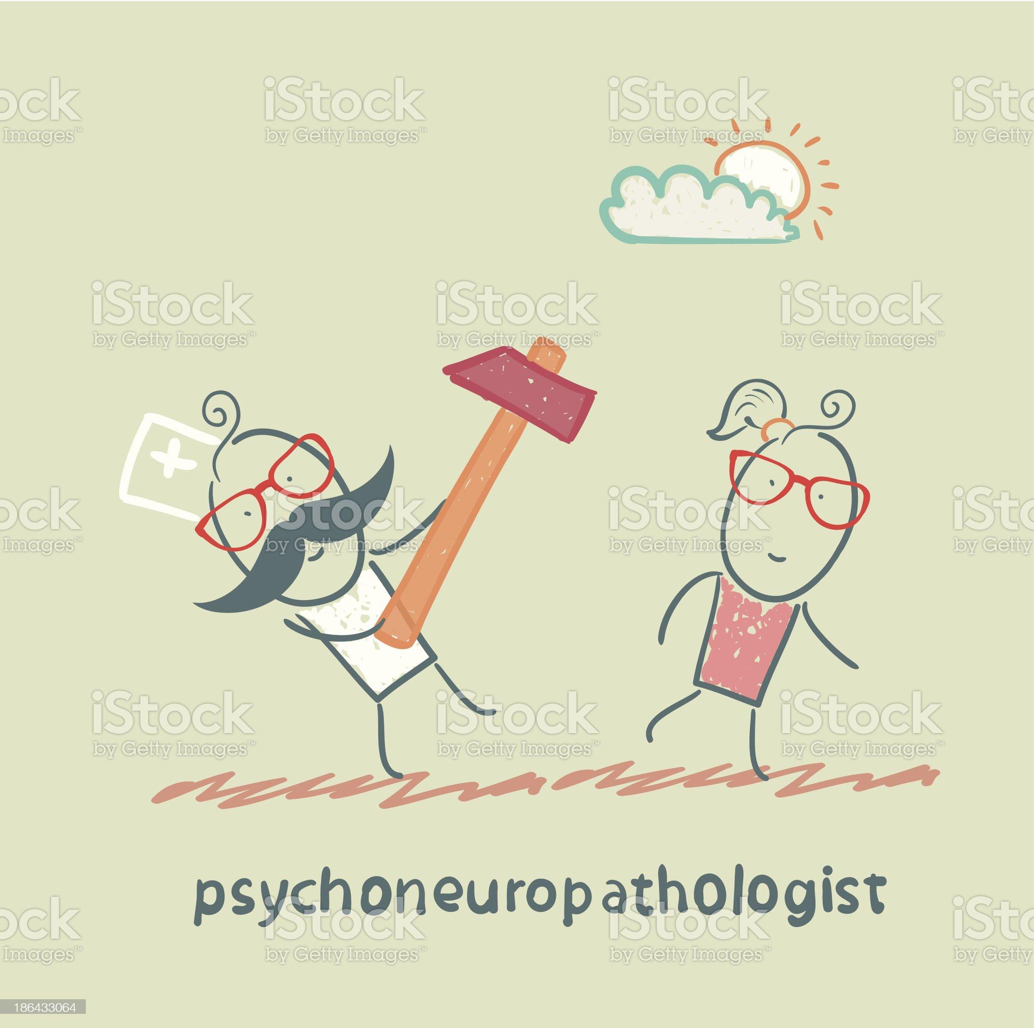 psychoneuropathologist runs with a hammer royalty-free stock vector art