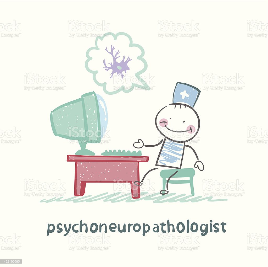 psychoneuropathologist  sits on the workplace royalty-free stock vector art