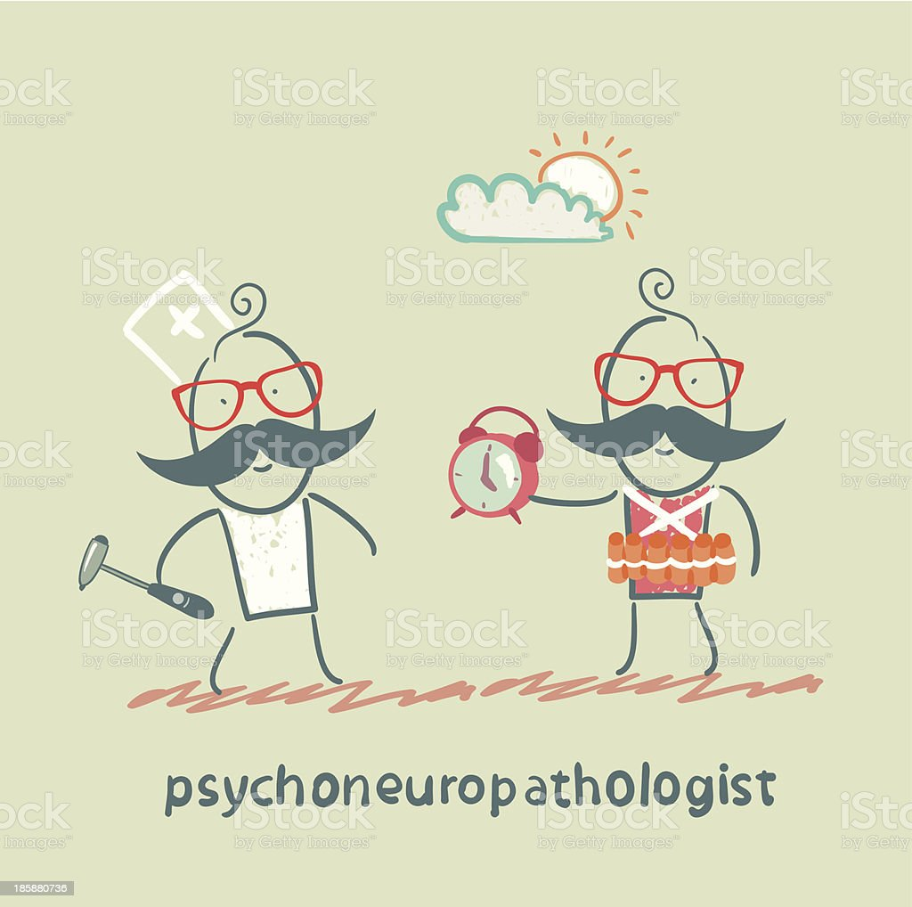 psychoneuropathologist stands next to a man royalty-free stock vector art