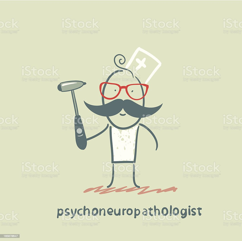 psychoneuropathologist stands with a hammer royalty-free stock vector art
