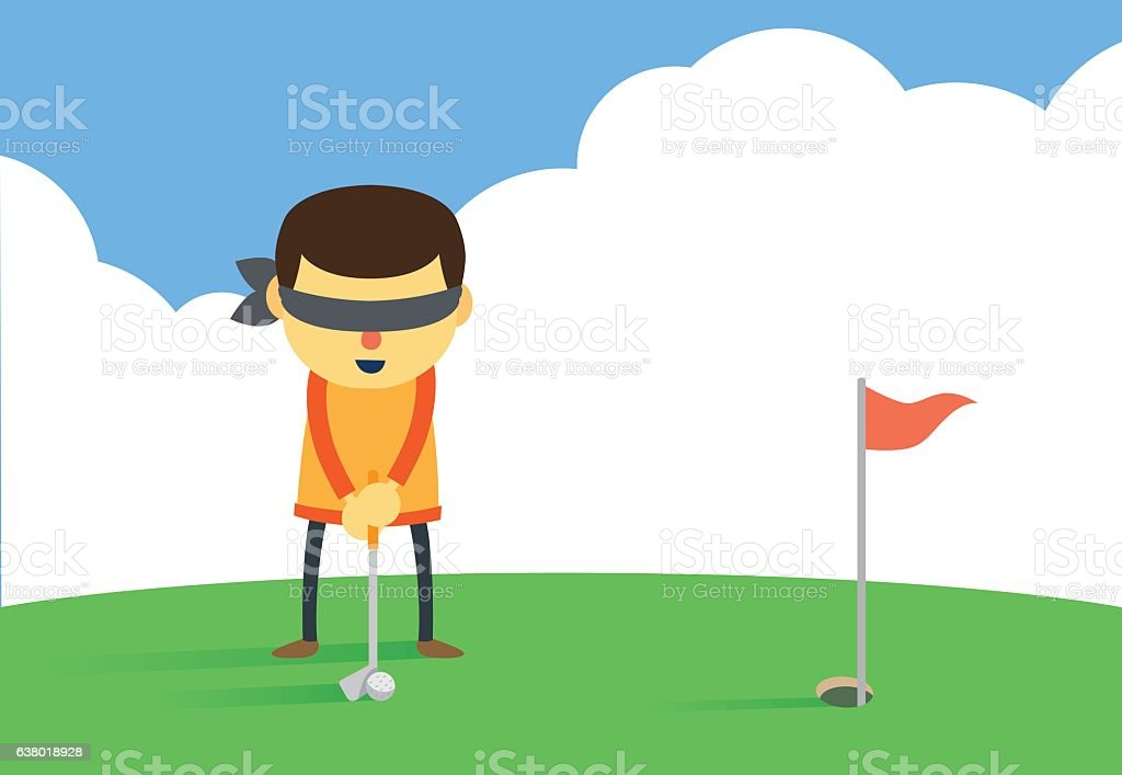 Ptting a golf ball into hole with eye closed. vector art illustration