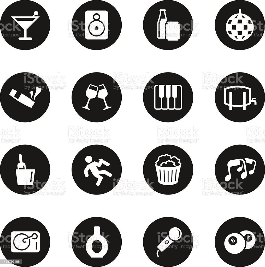 Pub and Bar Icons - Black Circle Series vector art illustration
