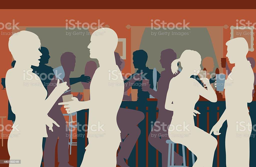 Pub crowd vector art illustration