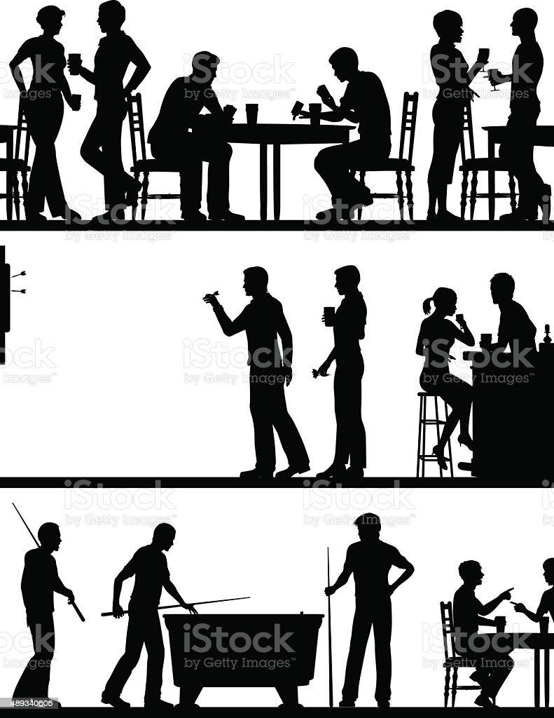 Pub game silhouettes vector art illustration