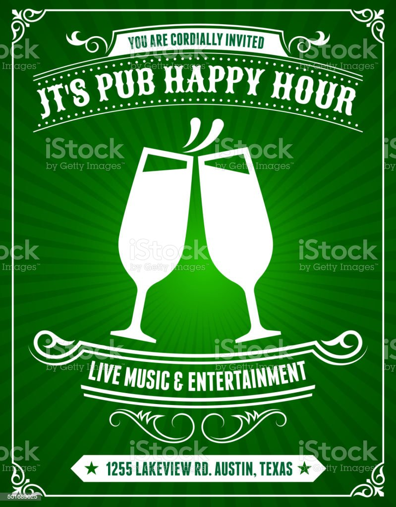 Pub Happy Hour Poster on Green Background royalty-free stock vector art