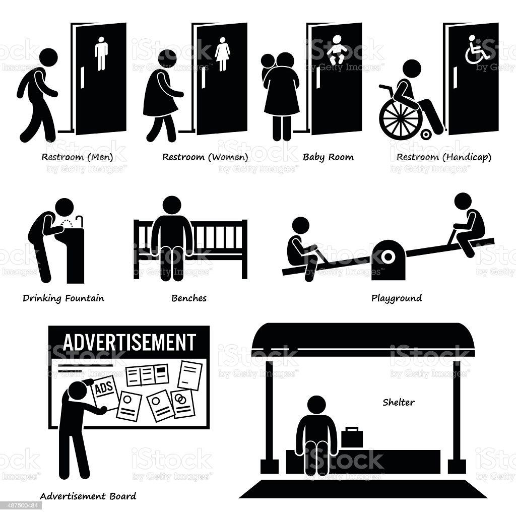 Public Amenities and Facilities vector art illustration