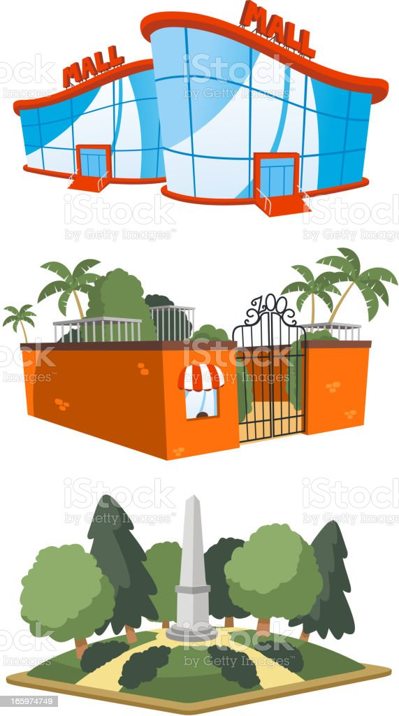 Public building mall shopping zoo square set 4 royalty-free stock vector art