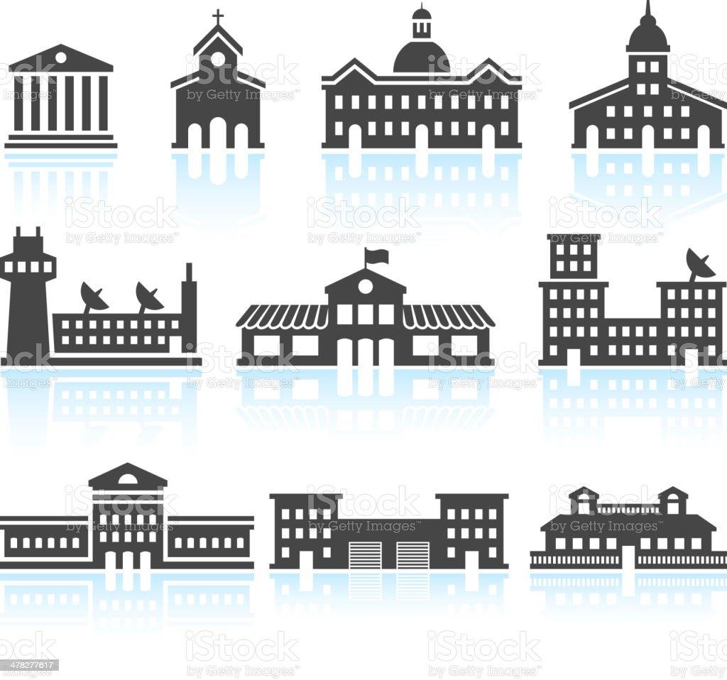 Public Commercial Real Estate Buildings Black & White Icons Set vector art illustration