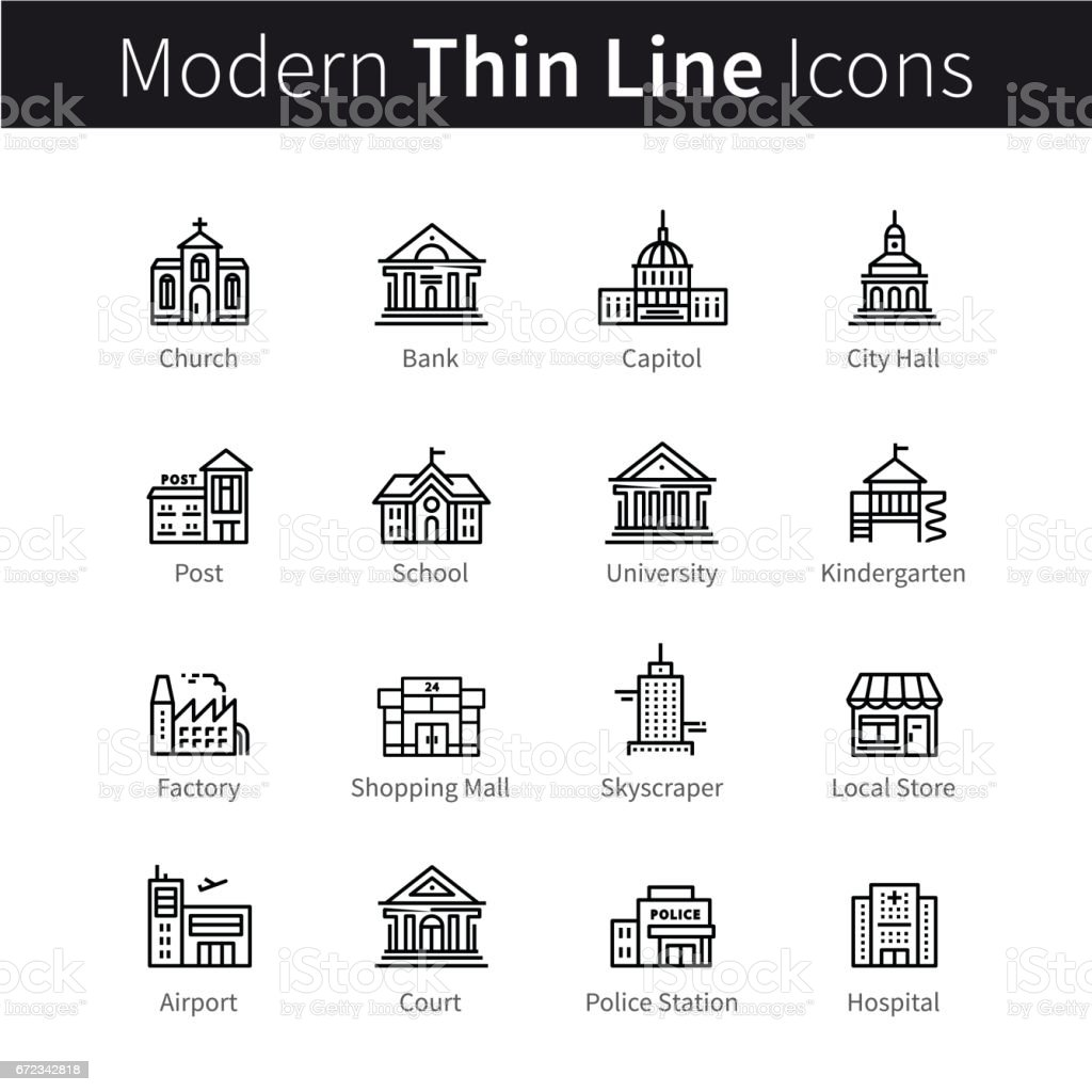Public, government and commercial city buildings vector art illustration