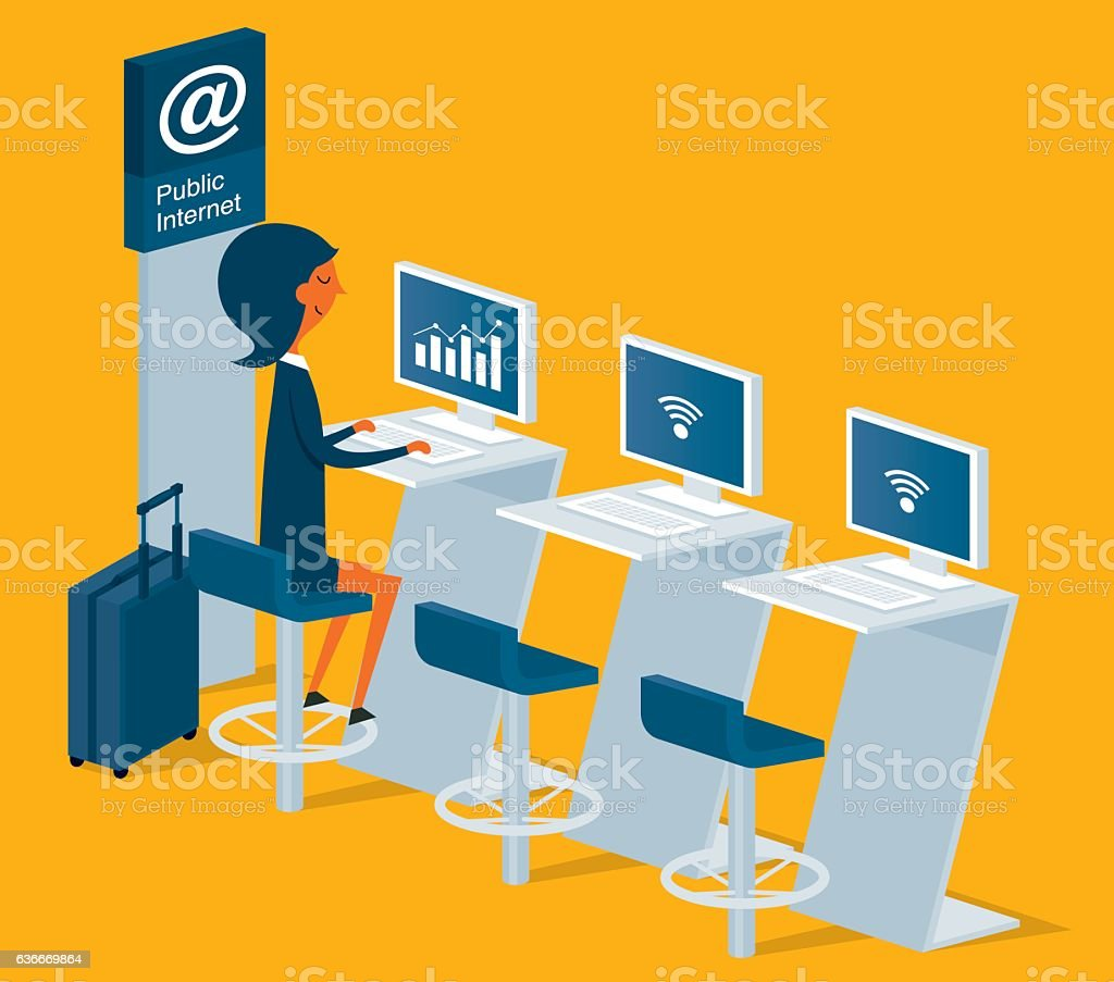 Public Internet Point in Airport vector art illustration