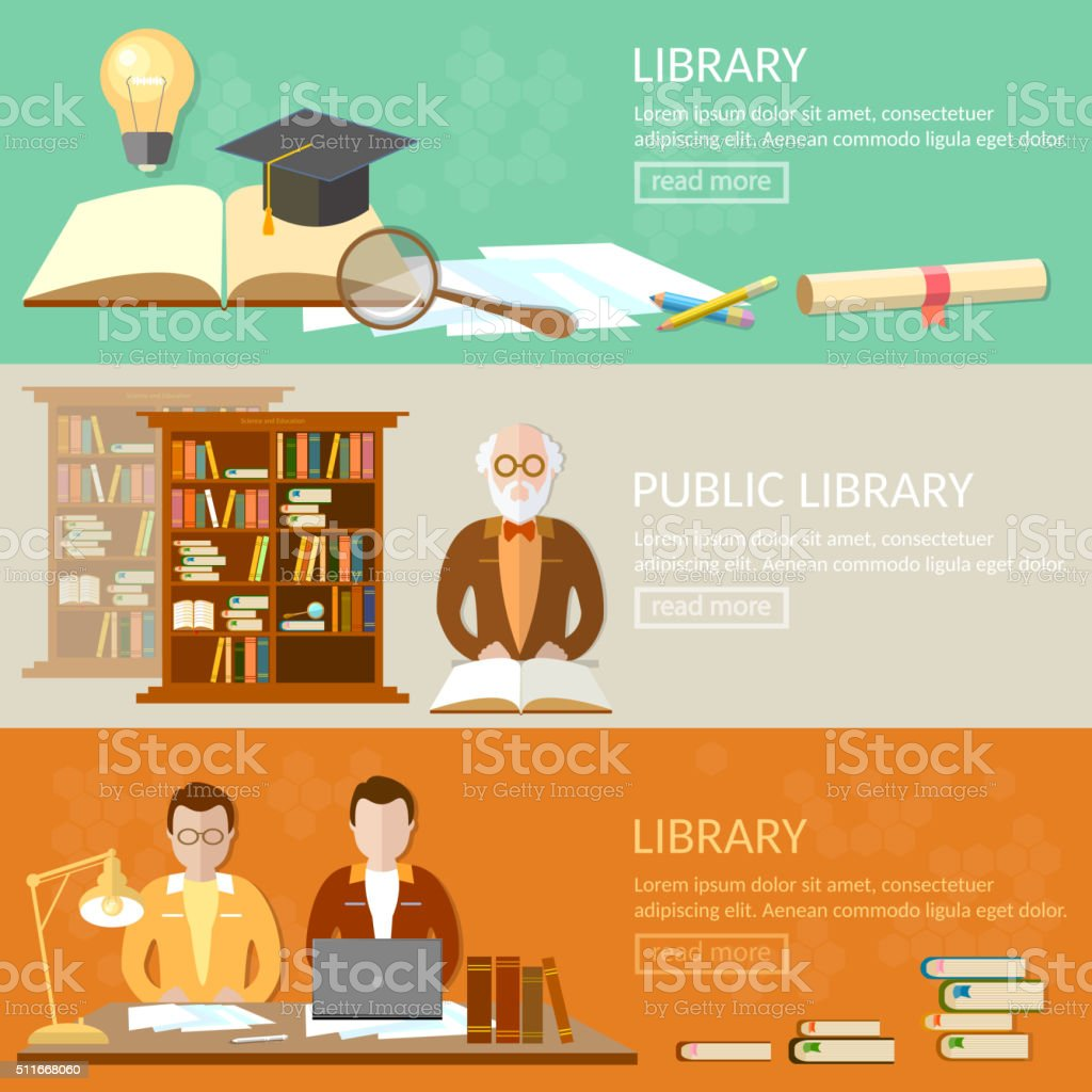 Public library education banners students reading books vector art illustration