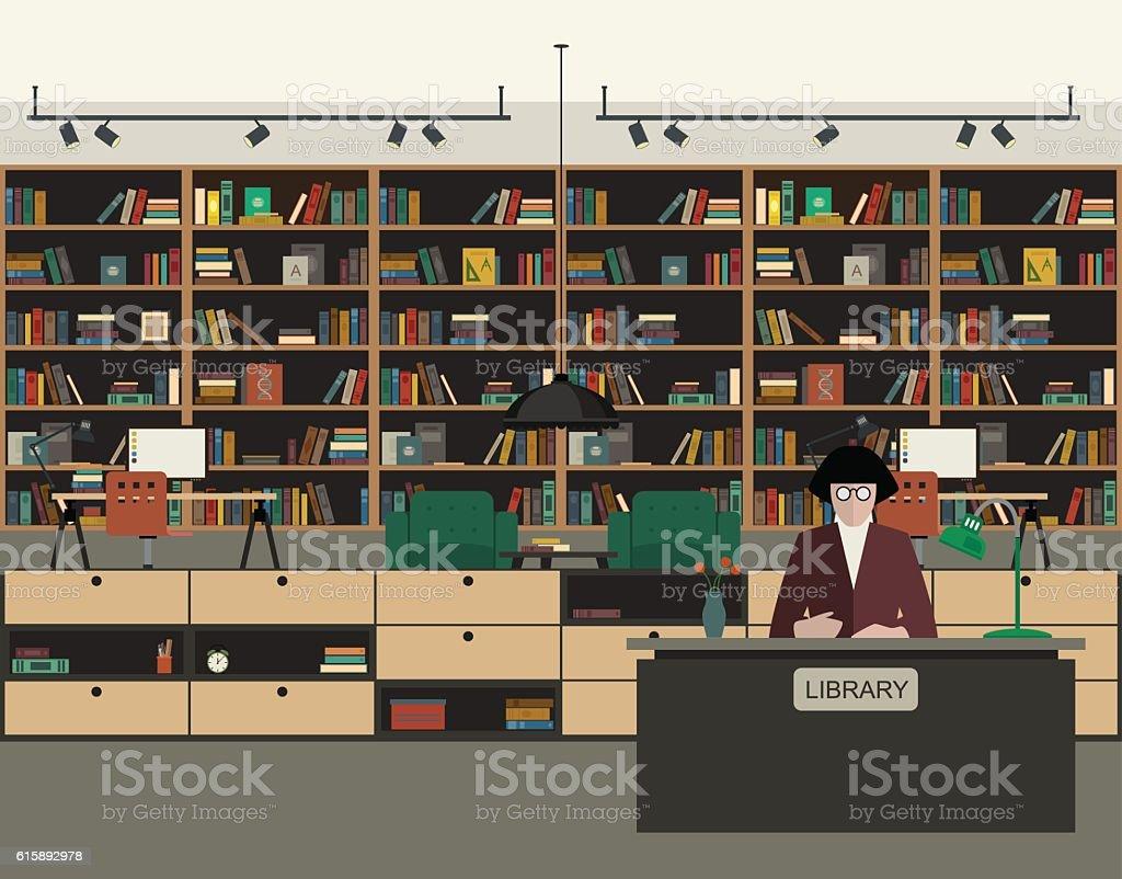 Public library flat illustration. vector art illustration