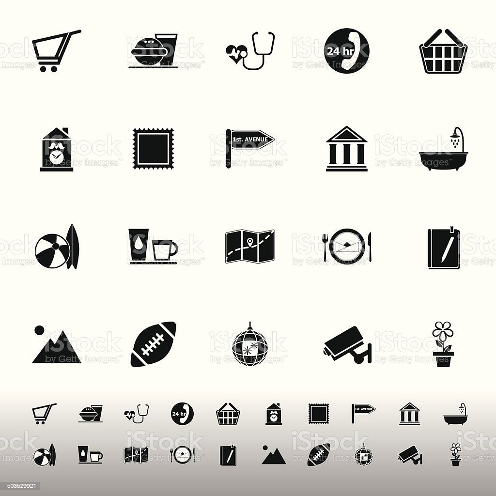 Public place sign icons on white background vector art illustration