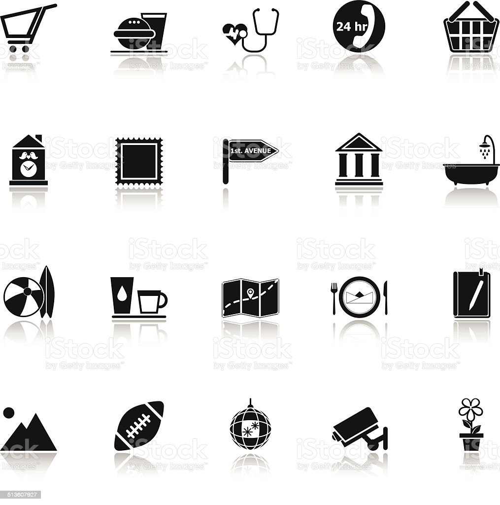 Public place sign icons with reflect on white background vector art illustration
