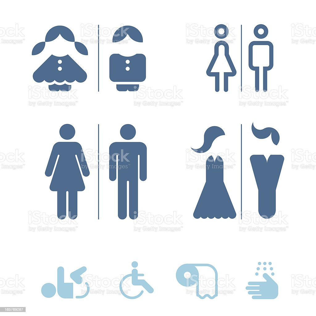 Public restroom icons vector art illustration