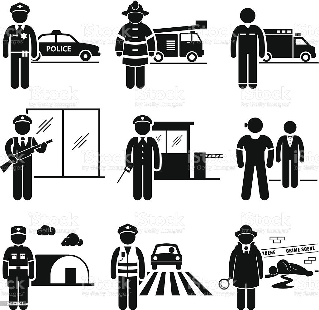 Public Safety and Security Jobs Occupations Careers vector art illustration