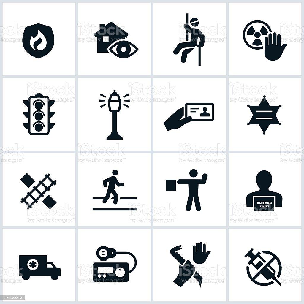 Public Safety Icons vector art illustration