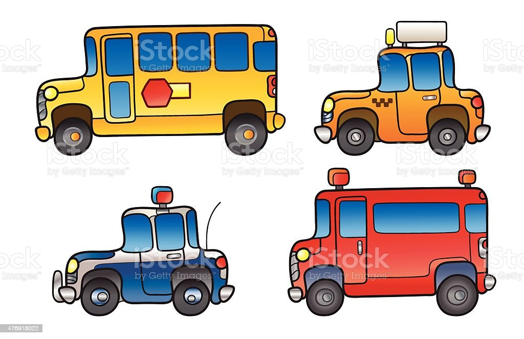 Public Service vehicles vector art illustration