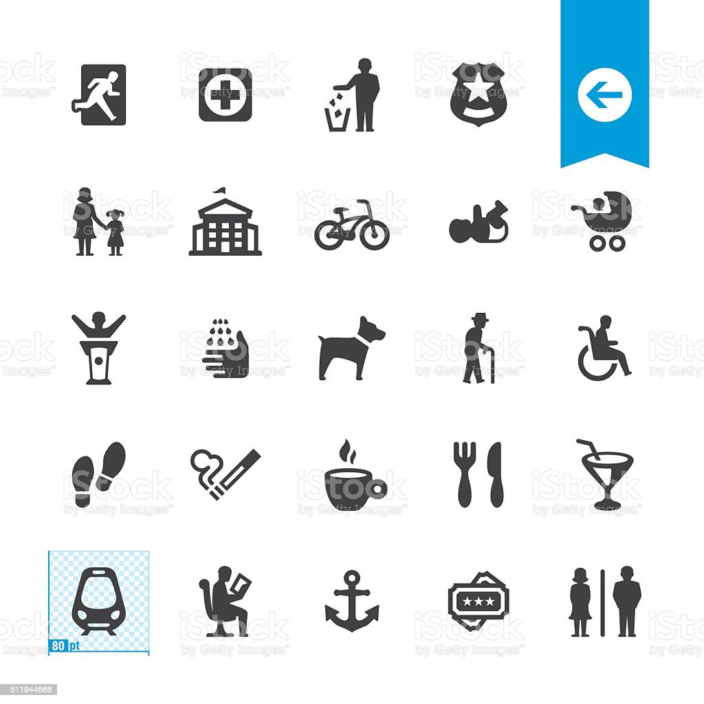 Public Space and Urban life vector icons vector art illustration