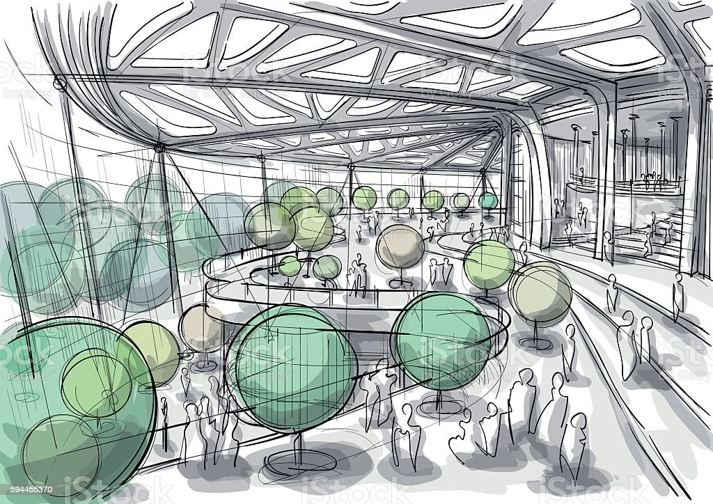 Public space interior sketch vector art illustration