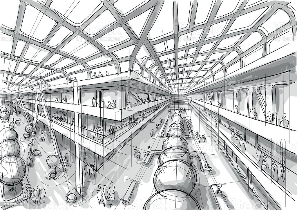 Public space interior sketch vector art illustration