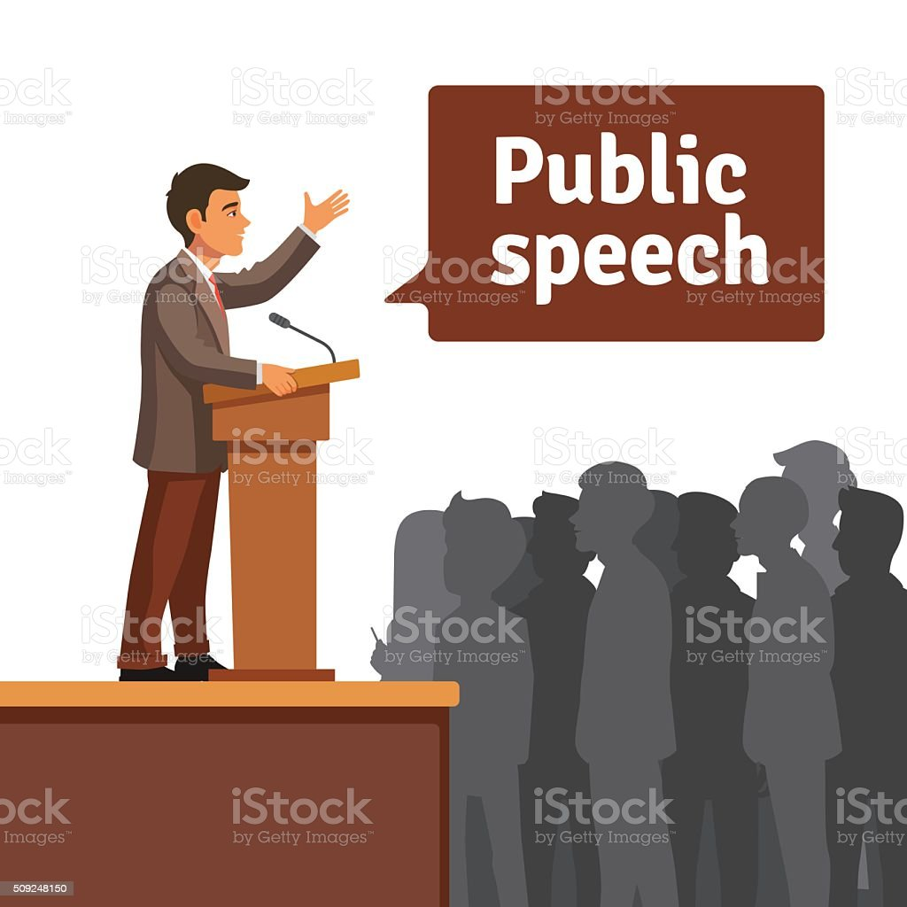 Public speaker speaking to gathered public vector art illustration
