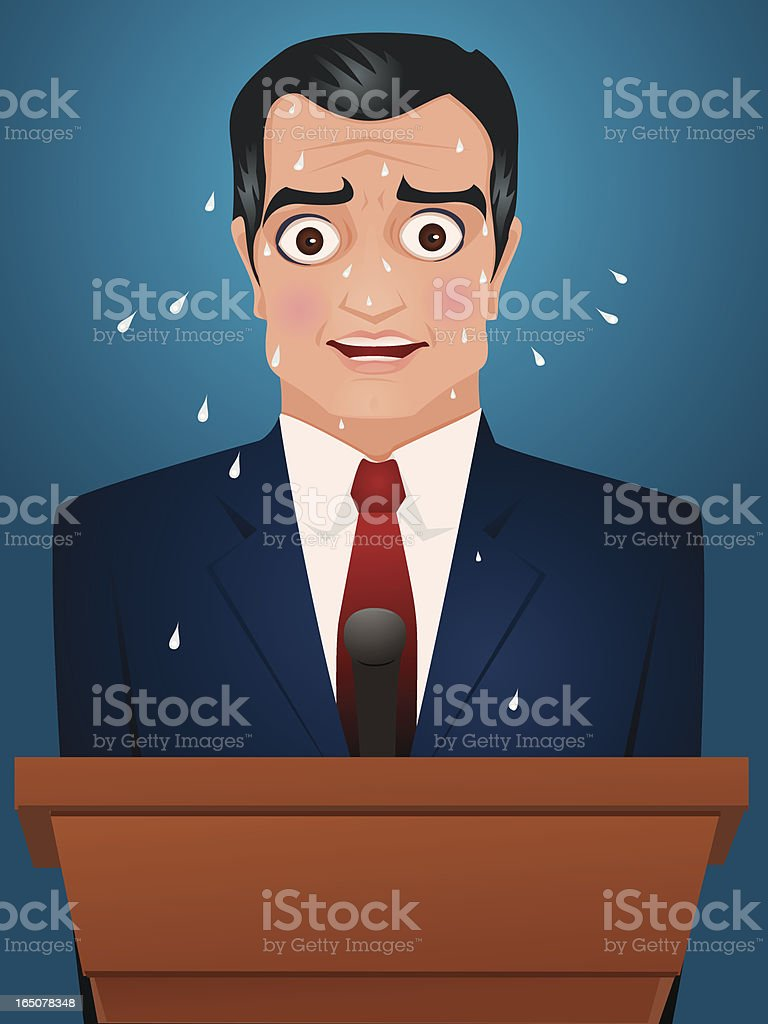 Public speaker under pressure. royalty-free stock vector art