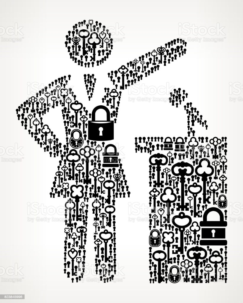 Public Speaking Antique Keys Black and White Vector Pattern vector art illustration