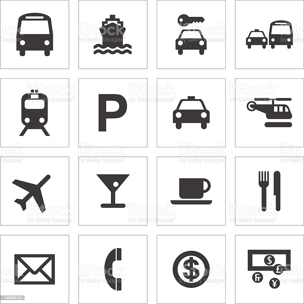 Public Transport And Travel Icons vector art illustration