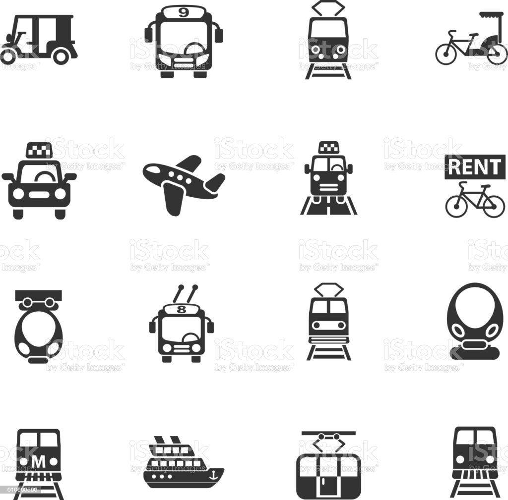 public transport icon set vector art illustration