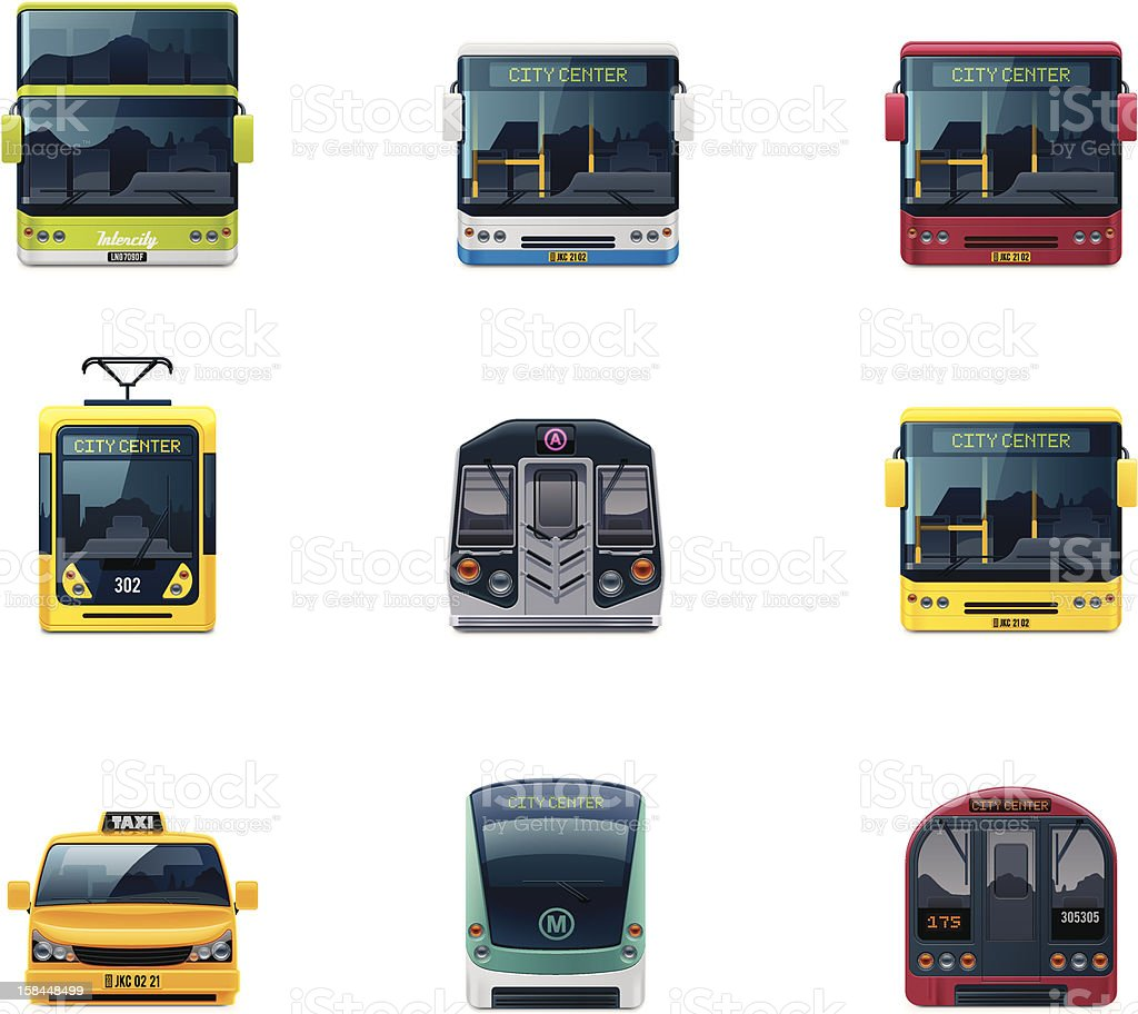 Public transport icons vector art illustration