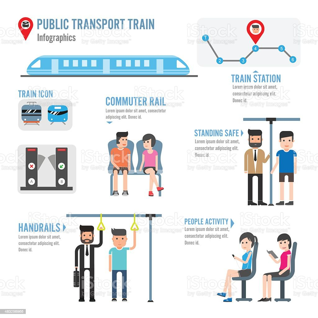 Public transport train infographics vector art illustration