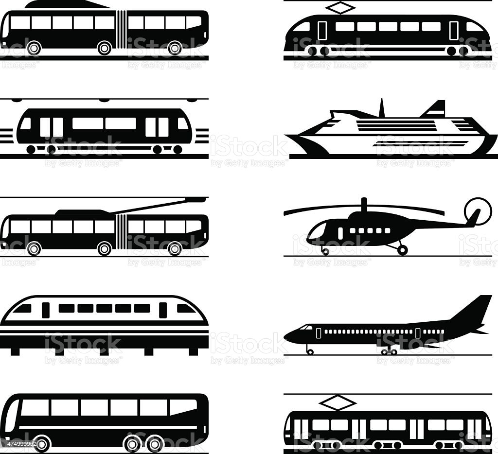 Public transportation icon set vector art illustration