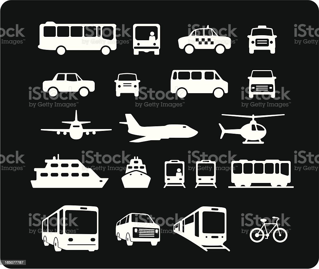 Public Transportation Icons vector art illustration