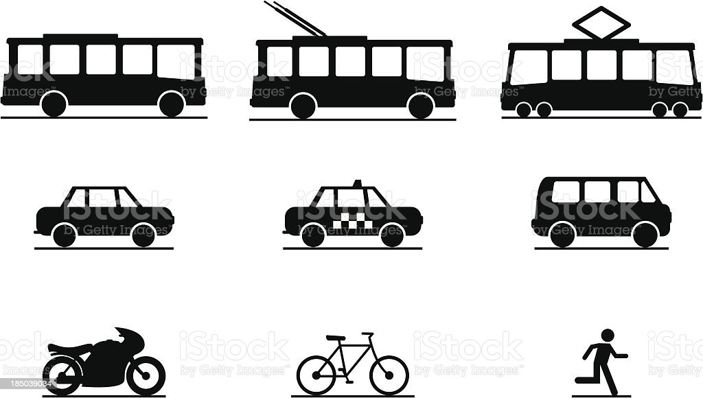 Public Transportation Icons royalty-free stock vector art