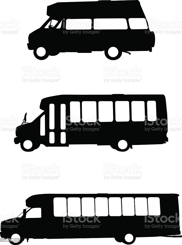 Public transportation vehicles vector art illustration