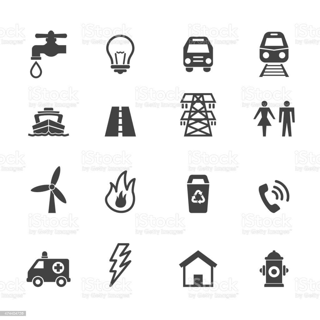 public utility icons vector art illustration