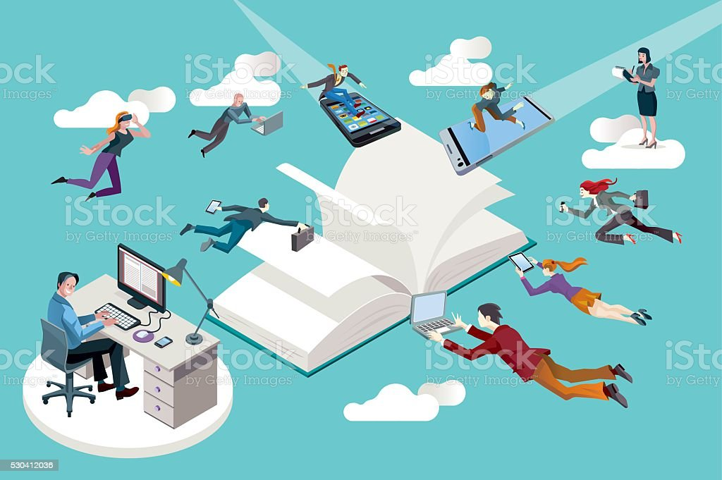 Publishing Company Staff and Open Book vector art illustration