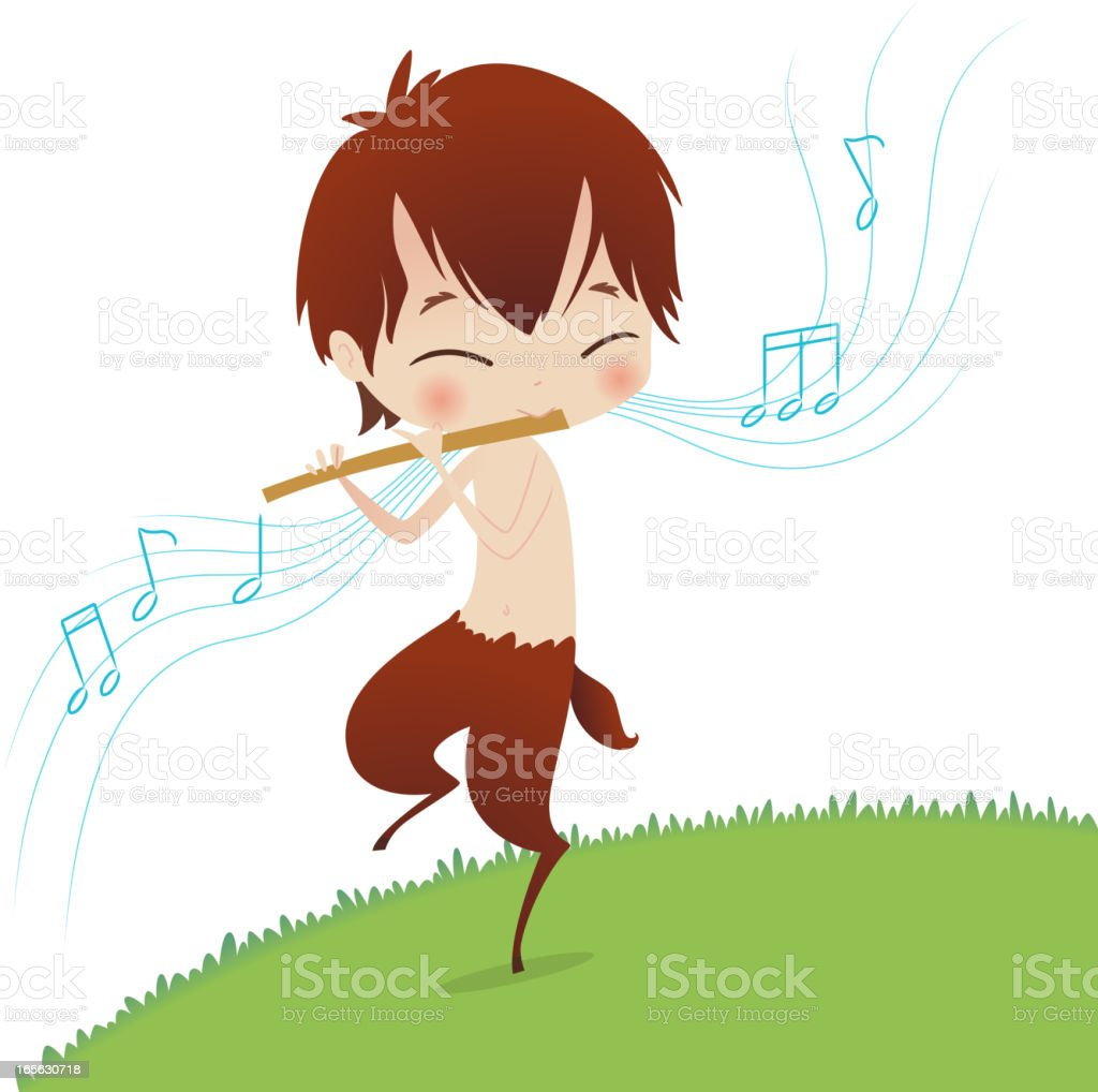 puck playing music vector art illustration