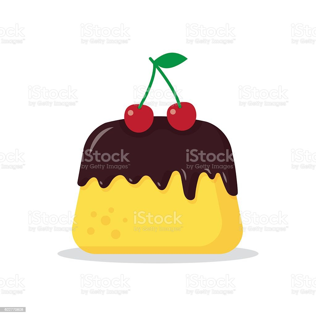 pudding with a cherry vector art illustration
