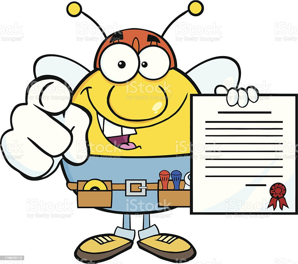 Pudgy Bee Worker Pointing With Finger And Holding A Contract royalty-free stock vector art