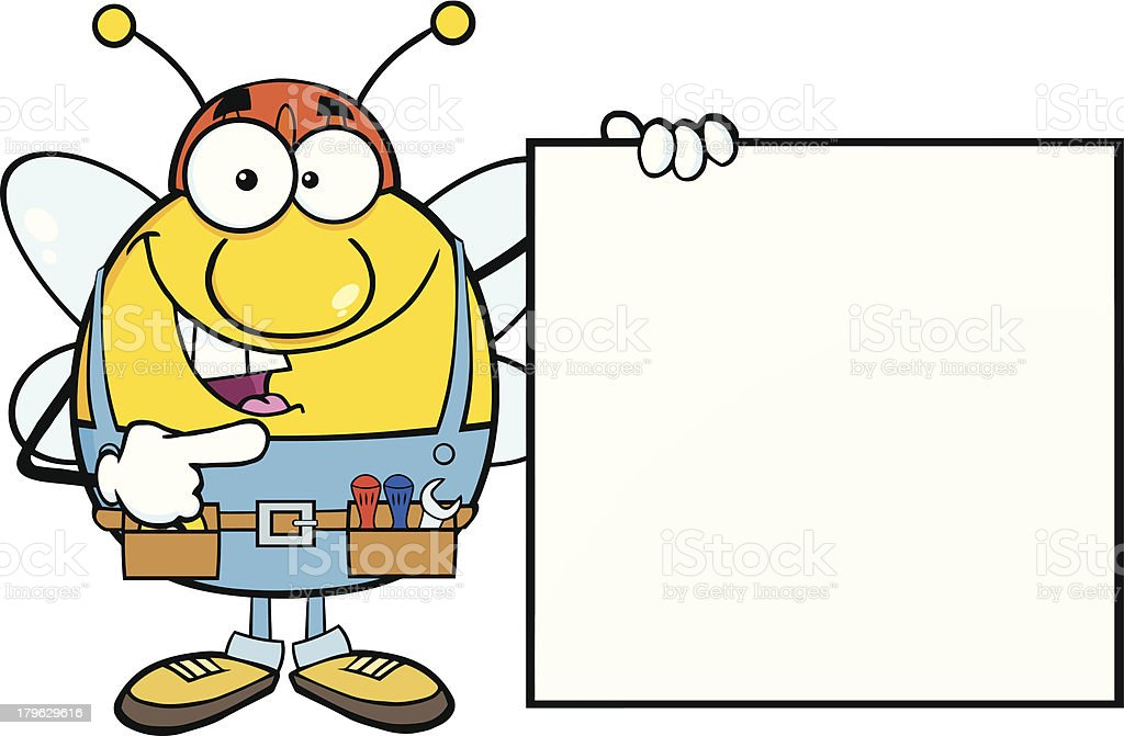 Pudgy Bee Worker Showing A Blank Sign royalty-free stock vector art