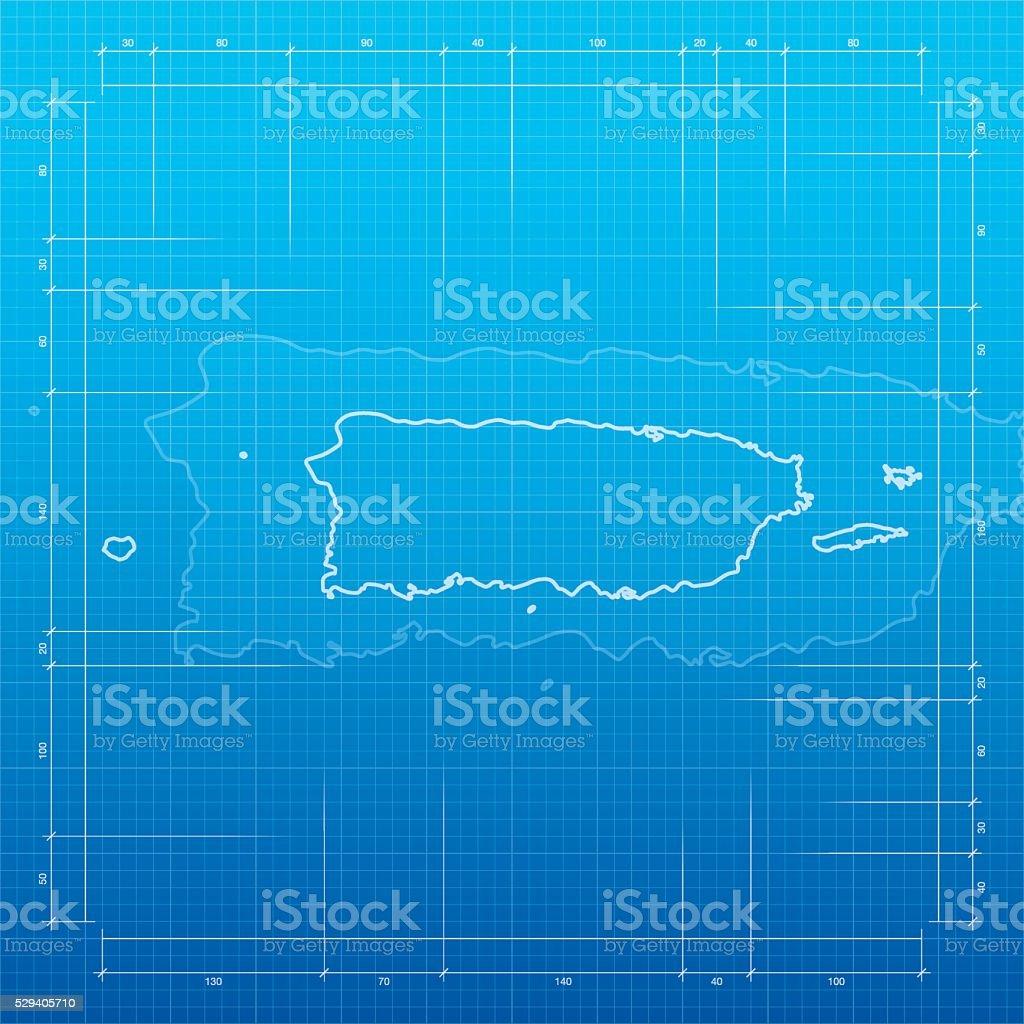 Puerto Rico map on blueprint background vector art illustration