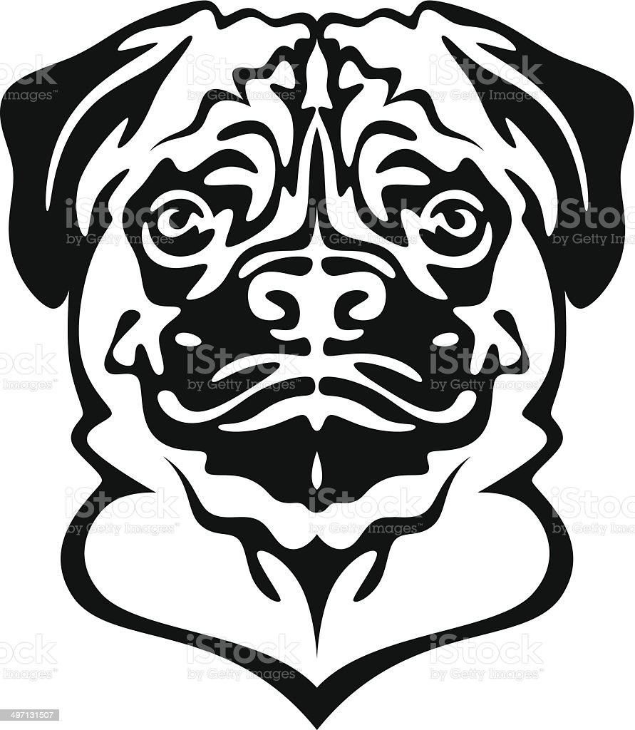 Pug dog head royalty-free stock vector art