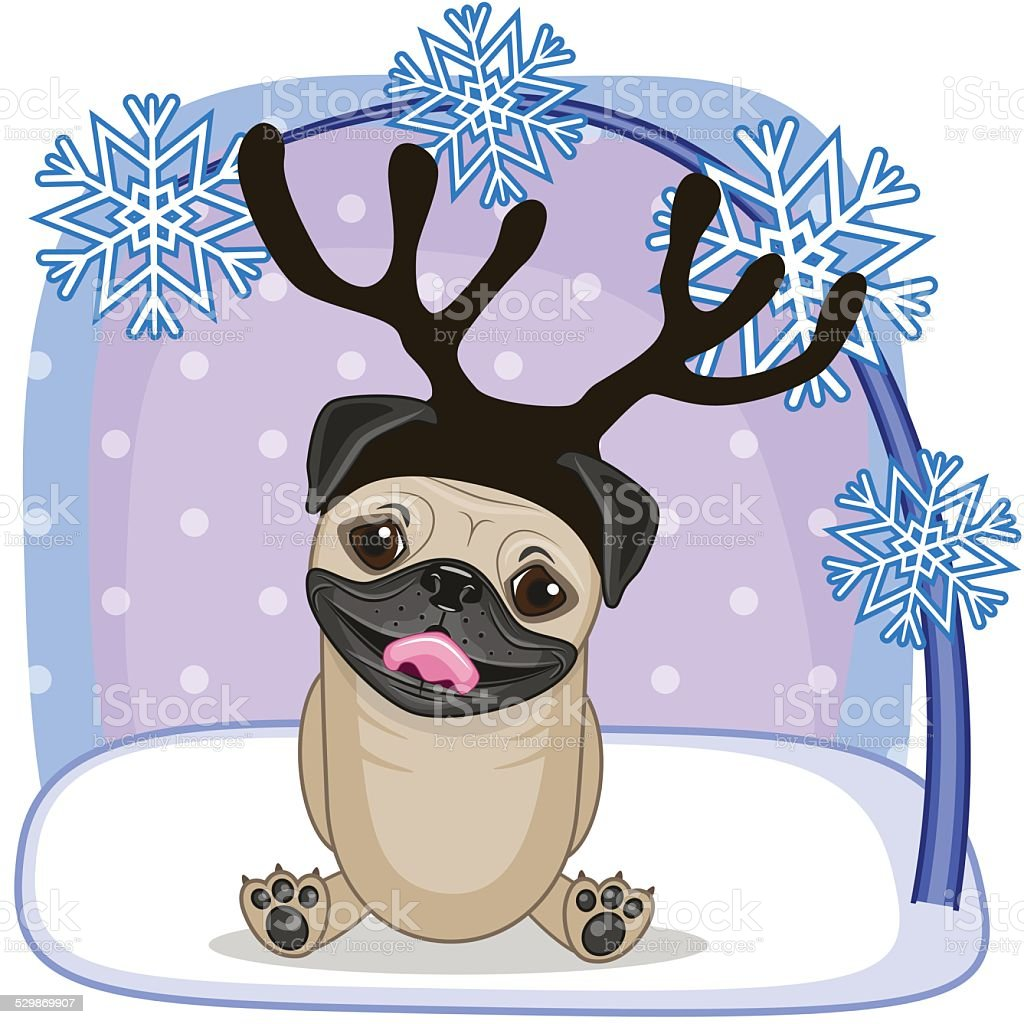 Pug Dog with antlers vector art illustration