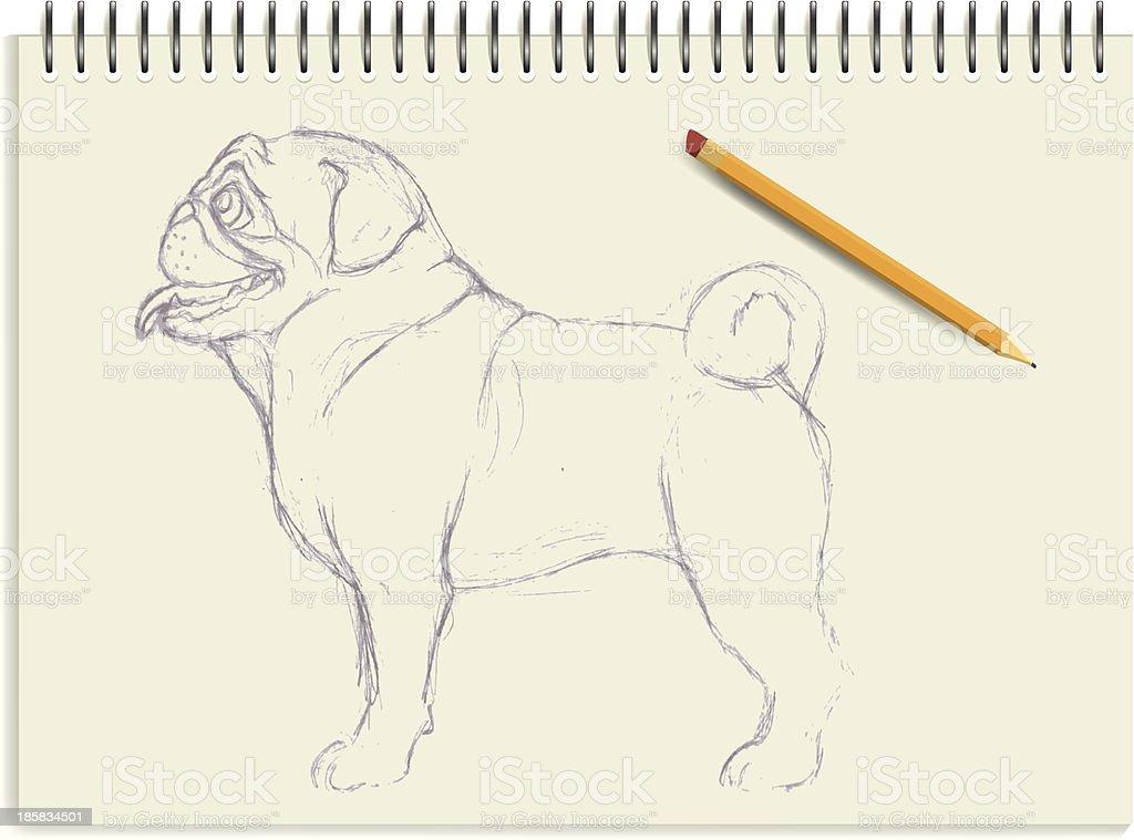 Pug vector art illustration