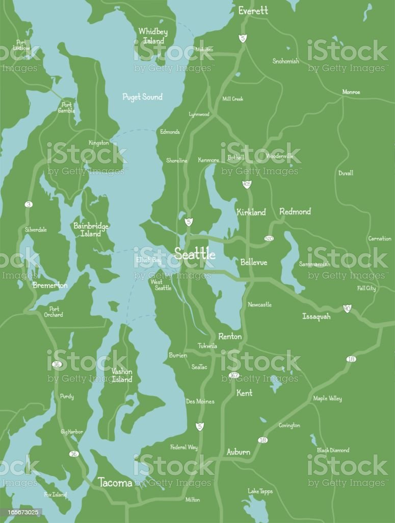Puget Sound (Seattle Area) Map royalty-free stock vector art