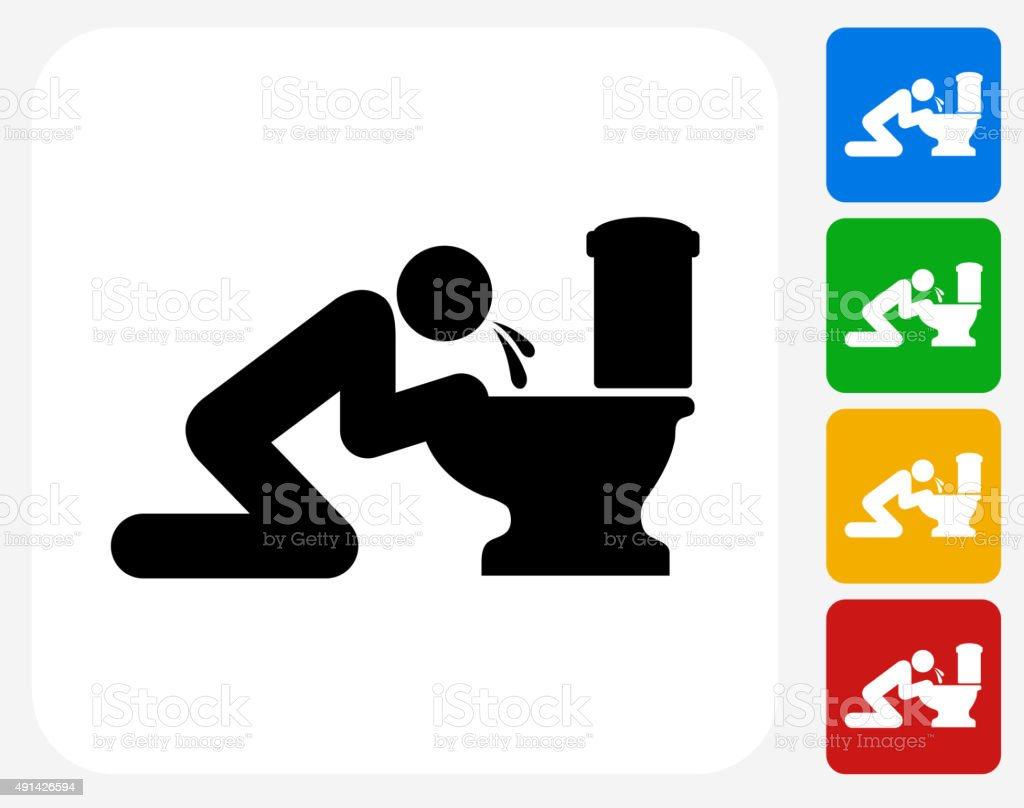 Puking Toilet Icon Flat Graphic Design vector art illustration