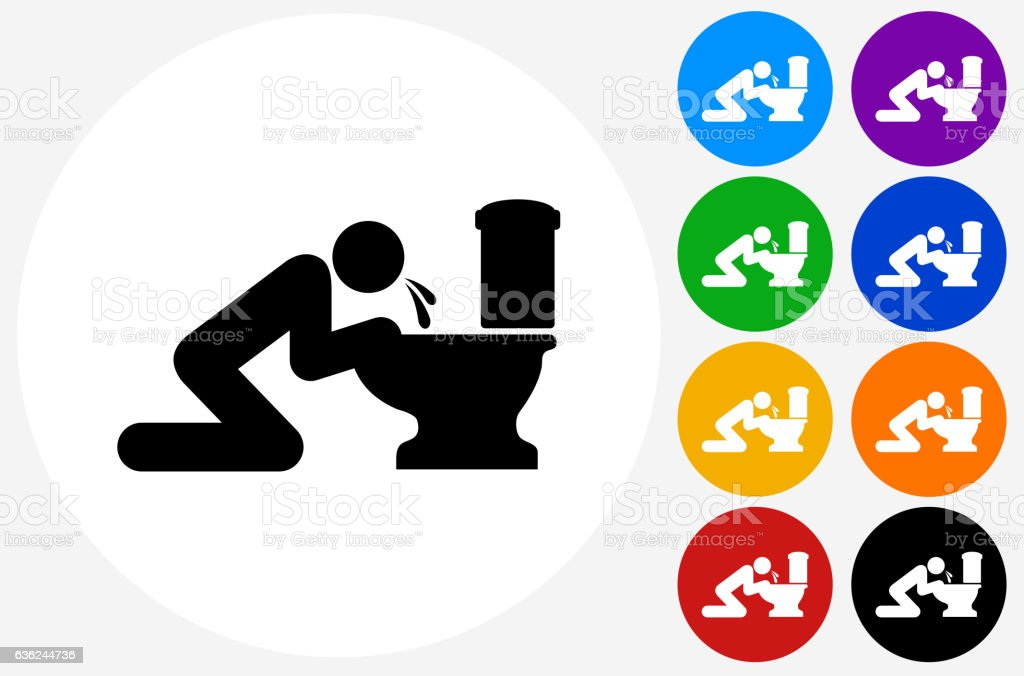 Puking Toilet Icon on Flat Color Circle Buttons vector art illustration